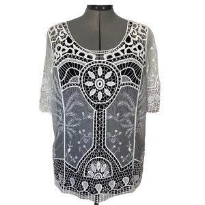 Boho crochet and embroidered mesh top  L